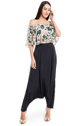 White & Black Abutilon Printed Pant Set by PS Pret by Payal Singhal
