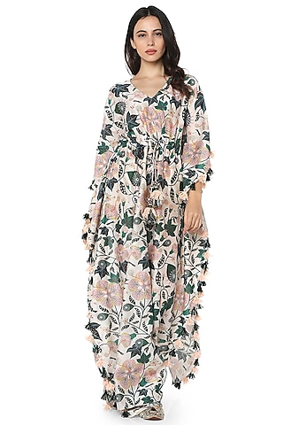 White Silk Mul Printed Kaftan by PS Pret by Payal Singhal