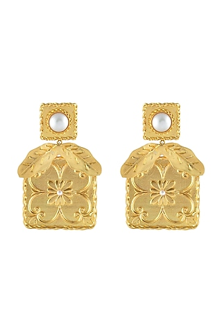 Gold Plated Pearl Handmade Tile Earrings by Prints by Radhika Jewellery