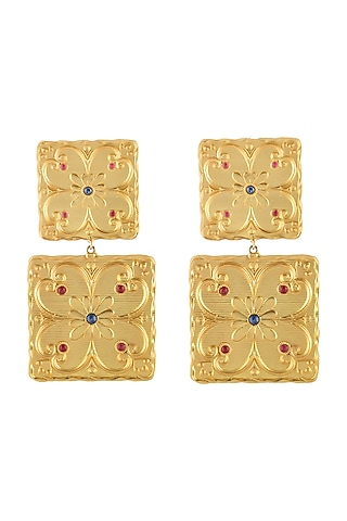 Gold Plated Handmade Tile Earrings by Prints by Radhika Jewellery