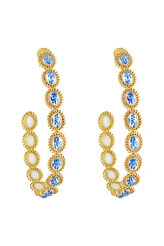 Gold Plated Hand Painted Hoop Earrings With Pearl by Prints by Radhika Jewellery