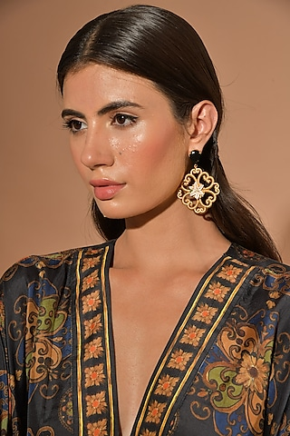 Gold Plated Hand Painted Lily Motif Earrings by Prints by Radhika Jewellery