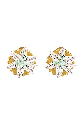 Gold Plated Hand Painted Stud Earrings by Prints by Radhika Jewellery