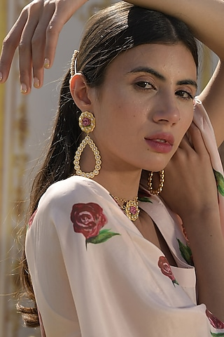 Gold Plated Hand Painted Earrings With Pearl by Prints by Radhika Jewellery