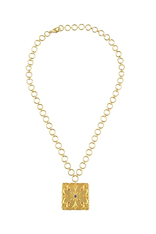 Gold Plated Handmade Rococo Necklace by Prints by Radhika Jewellery