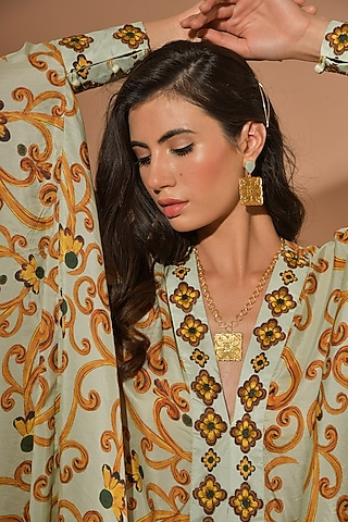 Gold Plated Handmade Rococo Tile Necklace by Prints by Radhika Jewellery