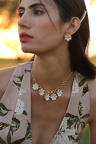 Gold Plated Hand Painted Lily Necklace by Prints by Radhika Jewellery