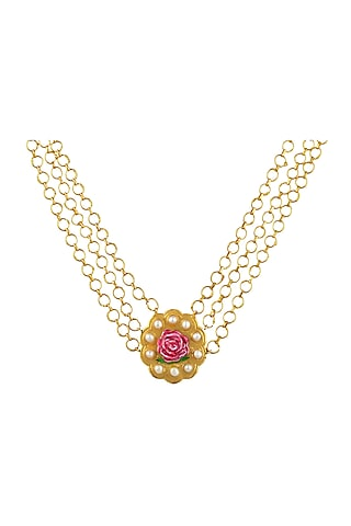 Gold Plated Hand Painted Pearl Choker Necklace by Prints by Radhika Jewellery