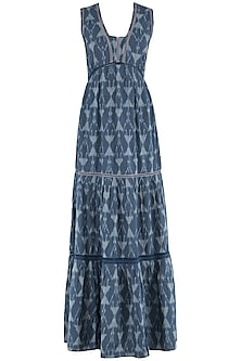 Dark Blue and White Ikkat Tiered Maxi Dress by PABLE