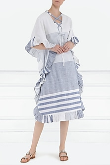 White and blue kaftan dress by PABLE