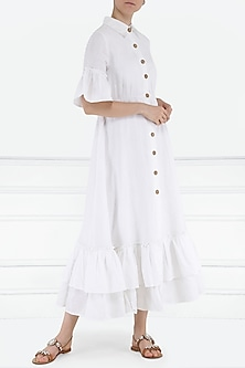 White front open midi dress by PABLE