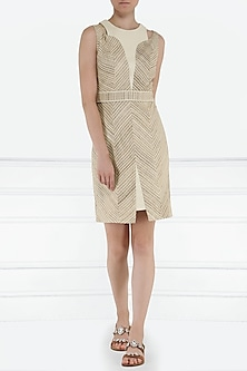 Beige and cream bodycon dress by PABLE