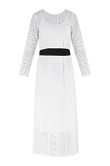 White chikankari midi dress with belt by PABLE