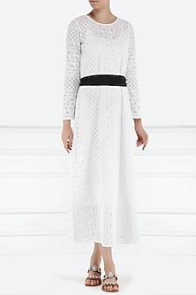 White chikankari midi dress with belt by PABLE