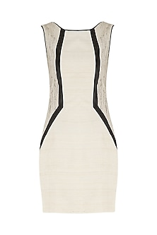White and sand beige bodycon dress by PABLE