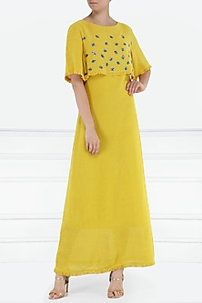 Mustard yellow embroidered maxi dress by PABLE