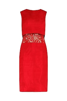 Red lace insert dress by PABLE