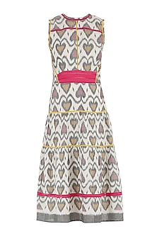 Grey and white ikkat tiered knee length dress by PABLE