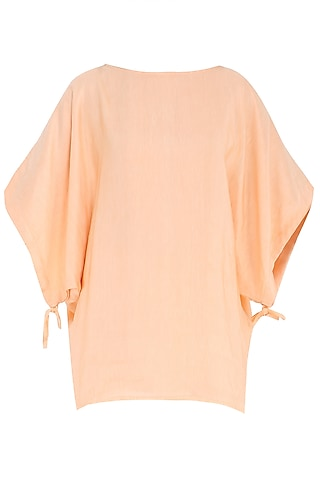 Peach Boat Neck Top by PABLE