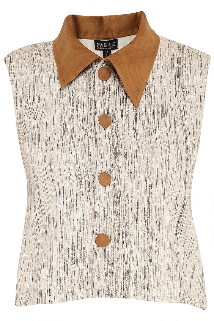 Beige Khadi Silk Top by PABLE
