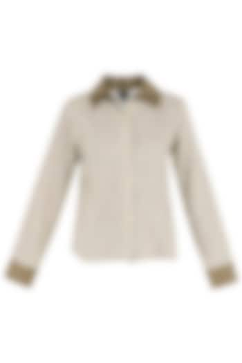 Beige Triple Collar Shirt by PABLE
