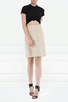 Beige Khadi Silk Skirt by PABLE