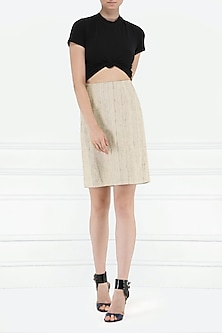 Beige Khadi Silk Skirt by PABLE