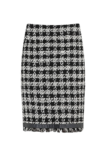 Black and White Fringe Skirt by PABLE