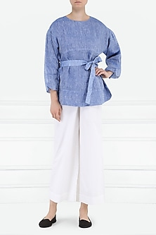 Blue Flared Sleeves Top by PABLE