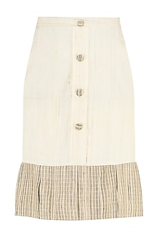 Cream Ruffled Skirt by PABLE
