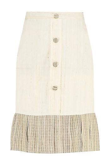 Cream Ruffled Skirt by PABLE