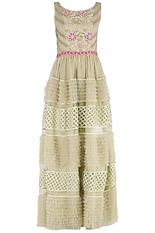 Off White and Beige Embroidered Tiered Gown by PABLE