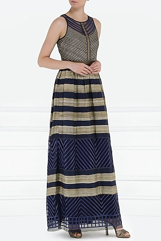 Dark Blue Tiered Gown by PABLE