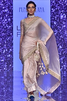 Blush Pink Emboidered Saree Set by Punit Balana