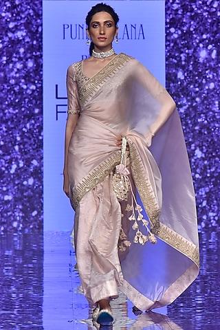 Blush Pink Emboidered Saree Set by Punit Balana