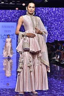 Blush Pink Peplum Kurta With Pants & Embroidered Dupatta by Punit Balana