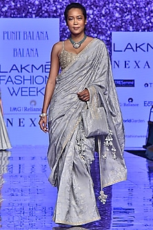 Grey Hand Embroidered Saree Set by Punit Balana