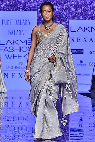 Grey Hand Embroidered Saree Set by Punit Balana