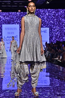 Grey Anarkali With Embroidered Pants & Dupatta by Punit Balana