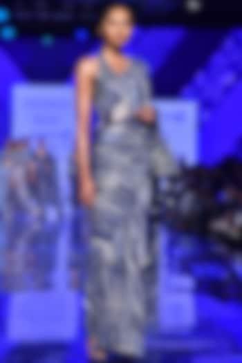 Midnight Blue Embroidered Saree Set by Punit Balana