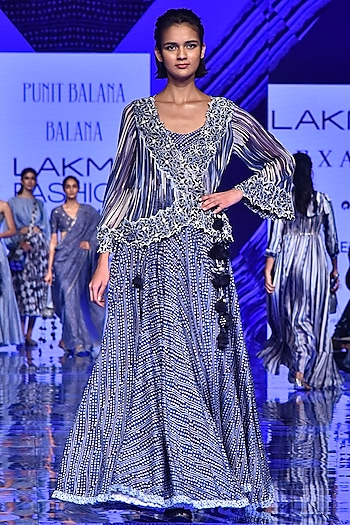 Midnight Blue Embroidered Cape With Skirt & Bralette by Punit Balana