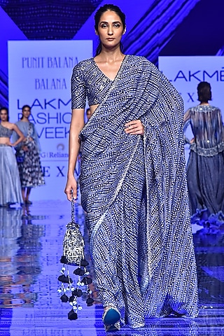 Midnight Blue Embroidered Saree With Blouse by Punit Balana