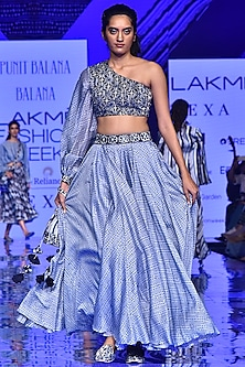 Midnight Blue Embroidered Top With Skirt by Punit Balana