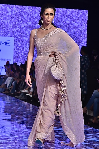 Blush Pink Embroidered Saree Set With Belt by Punit Balana
