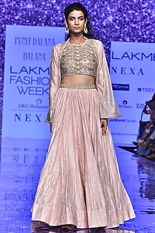 Blush Pink Embroidered Top With Cape & Skirt by Punit Balana