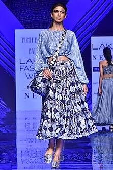 Midnight Blue String Top With Skirt by Punit Balana-LAKMÉ FASHION WEEK S/R '20
