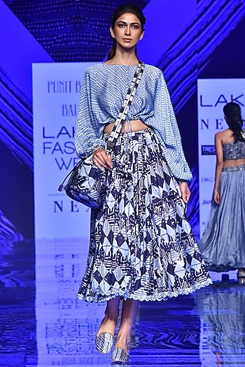 Midnight Blue String Top With Skirt by Punit Balana
