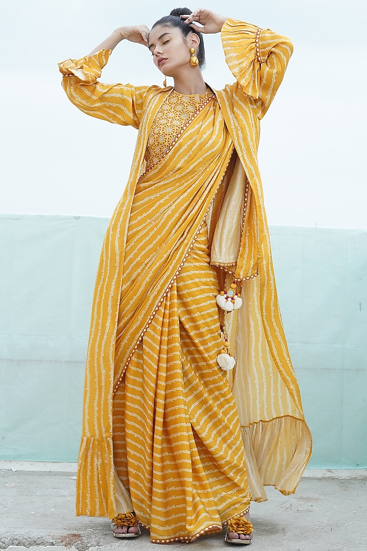 Mustard Yellow Embroidered & Printed Saree Set With Cape by Punit Balana