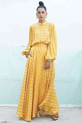 Mustard Yellow Embroidered & Printed Shirt With Skirt by Punit Balana
