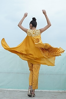 Mustard Yellow Embroidered & Printed Kurta With Pants by Punit Balana